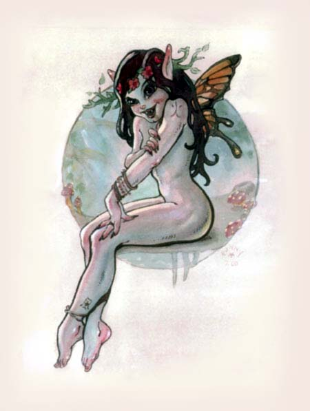 Watercolor: Butterfly Demon Faerie. Labels: fairy, fantasy, nude, pinup, ...